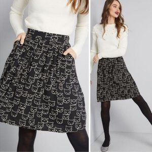 ModCloth Jessy B Casual Creativity Skirt in Cats M